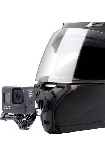 Alğan Ticaret Kask Çene Kamera Tutma Aparatı Tutacağı Siyah Renk