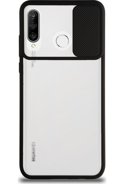 KZY Huawei P30 Lite Kapak Lensi Açılır Kapanır Kamera Korumalı Silikon Kılıf Siyah