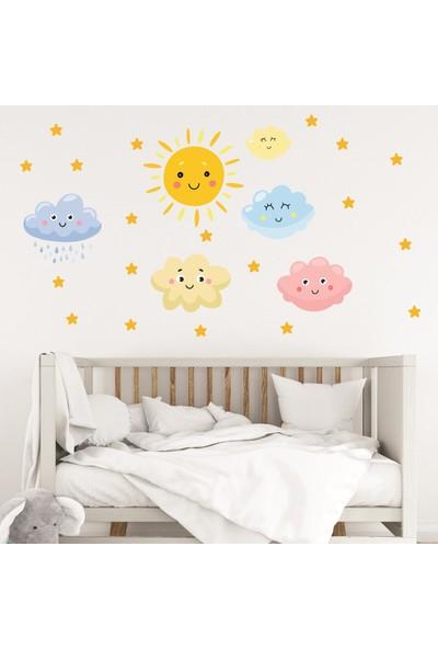Dijitalya Güneş Bulutlar ve Yıldızlar   Çocuk Odası Dekoratif Duvar Sticker   Duvar - Dolap  