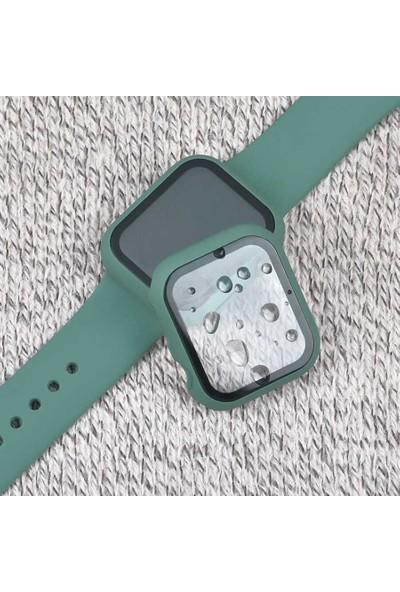 Fibaks Apple Watch Series 2/3/4/5/6 Se 44mm Kasa ve Ekran Koruyucu 360 Derece Tam Koruma Gard-01 Siyah