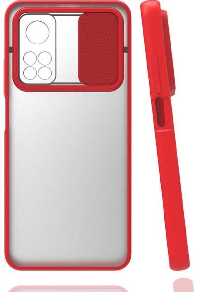Fibaks Xiaomi Mi 10T Pro 5g Kılıf Slayt Sürgülü Kamera Lens Korumalı Silikon Kapak Kırmızı