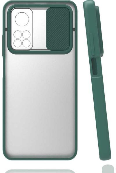 Fibaks Xiaomi Mi 10T Pro 5g Kılıf Slayt Sürgülü Kamera Lens Korumalı Silikon Kapak Koyu Yeşil