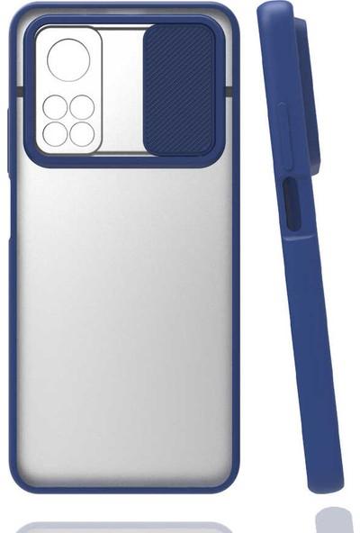 Fibaks Xiaomi Mi 10T Pro 5g Kılıf Slayt Sürgülü Kamera Lens Korumalı Silikon Kapak Lacivert