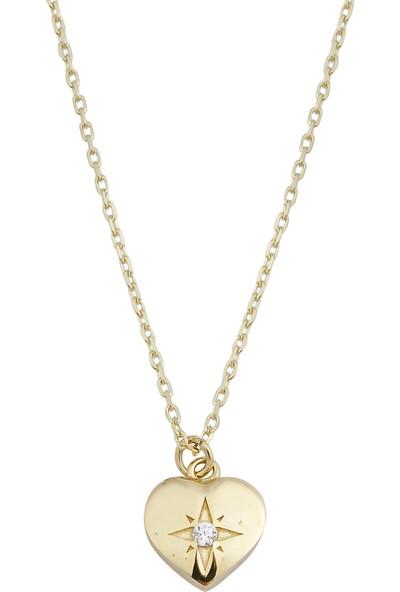 Melike Gold 14 Ayar Altın Kalp Taşlı Tasarım Kolye