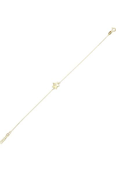 Melike Gold 14 Ayar Altın Yıldız Taşlı Tasarım Bileklik