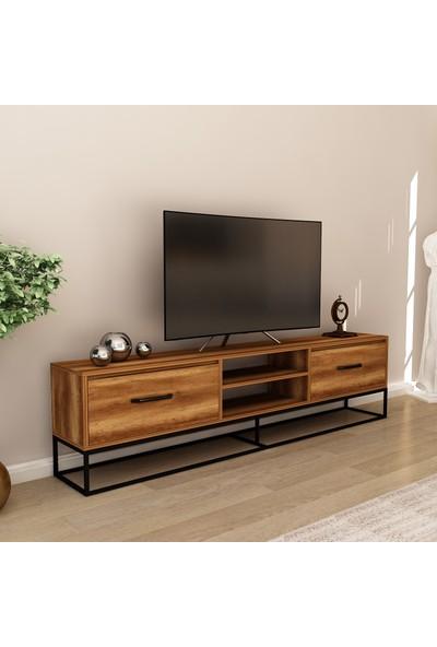 Hepsi Home Arin 180 cm Metal Ayaklı Tv Ünitesi- Barok Ceviz