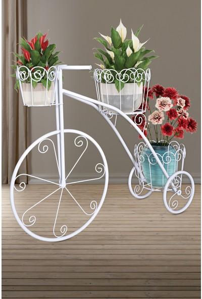 Full Reyon Fullreyon Bisiklet Ferforje Çiçeklik Saksılık Beyaz