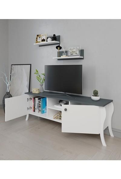 PlatinReyon Modern Lukens Ayaklı 2 Kapaklı Raflı Tv Üntesi Arkalıklı Antrasit