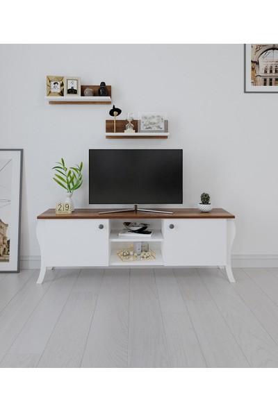 PlatinReyon Modern Lukens Ayaklı 2 Kapaklı Raflı Tv Üntesi Arkalıklı Barog Ceviz