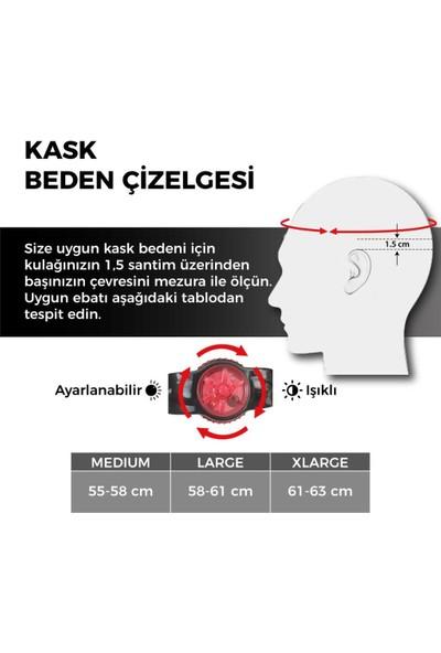 Zozo MV29 Işıklı Unisex Kask 2021 Siyah/kırmızı