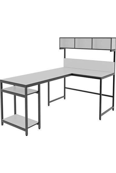 Yasmak Beyaz Yüksek Raflı L Ofis ve Çalışma Masası