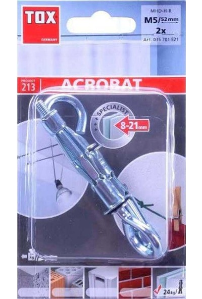 Tox M5X52 Pirat Skippi-O Içi Boş Metal Dübel 2 'lü 035 701 52 1