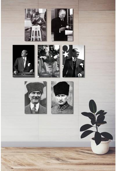 Nefes Atatürk Görselli 7 Parça Ahşap (Mdf) Duvar Dekorasyon Tablo Seti