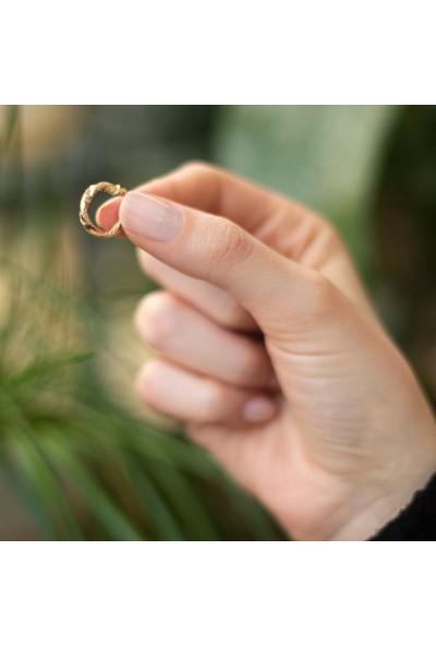 Gelin Pırlanta 14 Ayar Altın Burgu Halka Küpe - 1.5 cm