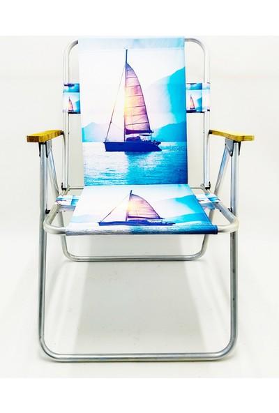 Hastunç Ahşap Kolçaklı Yelken Katlanır Kamp Bahçe Plaj Piknik Sandalyesi Koltuğu
