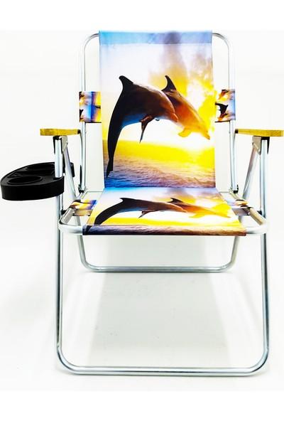 Hastunç Ahşap Kolçaklı Yunus Katlanır Kamp Bahçe Plaj Piknik Sandalyesi Koltuğu+Bardaklık
