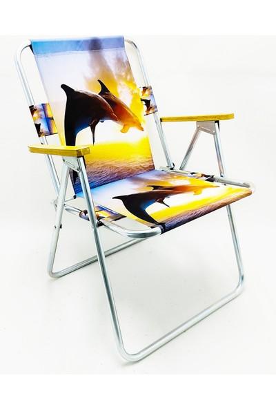 Hastunç Ahşap Kolçaklı Yunus Katlanır Kamp Bahçe Plaj Piknik Sandalyesi Koltuğu