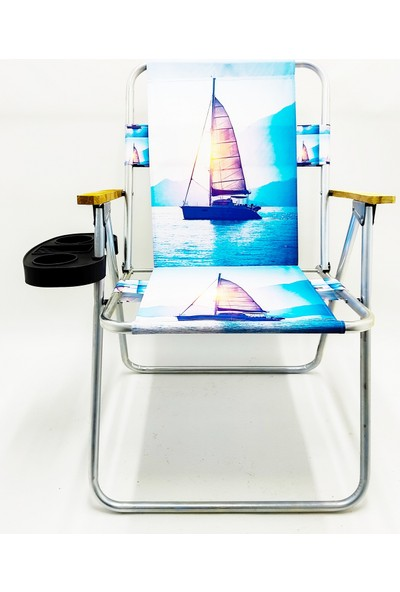 Hastunç Ahşap Kolçaklı Yelken Katlanır Kamp Bahçe Plaj Piknik Sandalyesi Koltuğu+Bardaklık