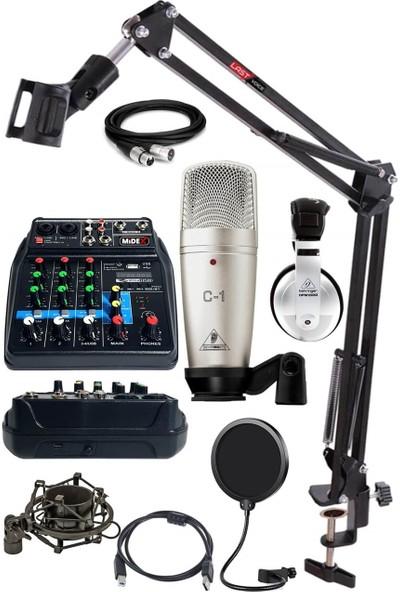 BehringerQuadcast Set C-1 Mikrofon Midex Mikser Stand Kulaklık Full