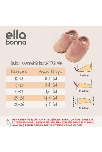 Ella Bonna Kadife Bebek Pandufu Ev Patiği, Kaydırmaz Taban, Organik Pamuk Astar, Ev Kreş Ayakkabısı