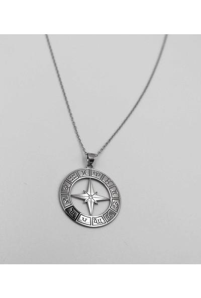 Mavili Burç Gümüş Kolye Gümüş-50 cm