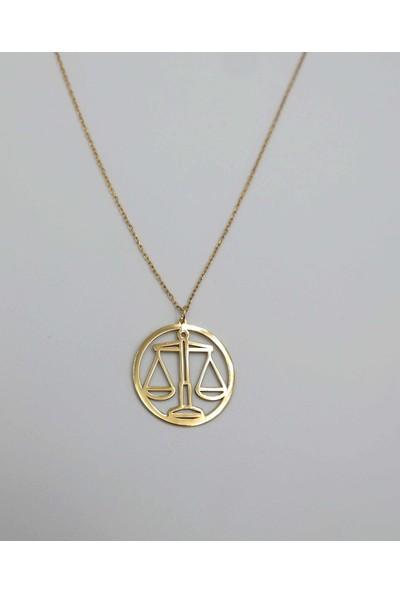 Mavili Çember Terazi Burcu Gümüş Kolye Altın-50 cm