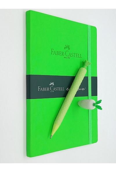 Faber-Castell A5 Suni Deri Ajanda Fosforlu Yeşil + Silikon Versatil Kalem 0,7 mm + Silgi Seti