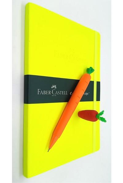 Faber-Castell A5 Suni Deri Ajanda Fosforlu Sarı + Silikon Havuç Kalem 0,7 mm + Havuç Silgi Seti