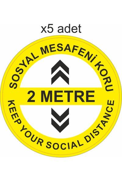 3Ekip Sosyal Mesafeyi Koru Yapışkanlı Yer Folyosu 5 Adet