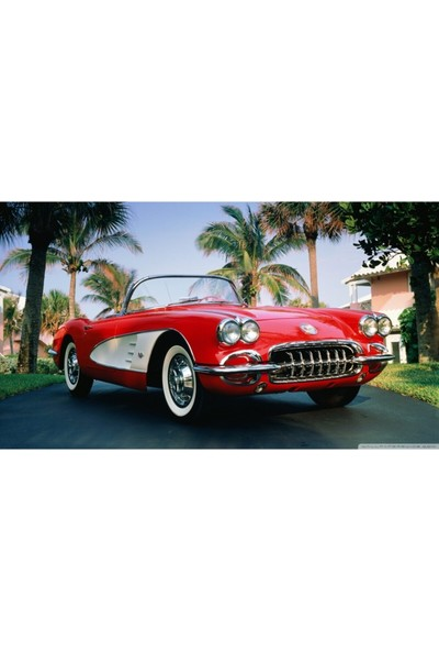 Sonar Klasik Corvette Ahşap Tablo Uv Baskı