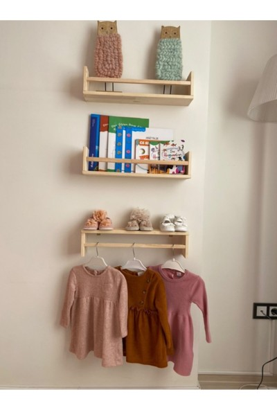 Montessori Kitaplık Çocuk Bebek Odası Duvar Rafı Ahşap Kitaplık Raf 3 Adet 50 cm