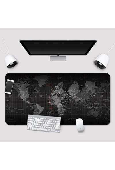 Gamingpadci 70 x 30 cm Black Dünya Desenli Dikişli Kaydırmaz Taban Mouse Pad Oyuncu Gaming