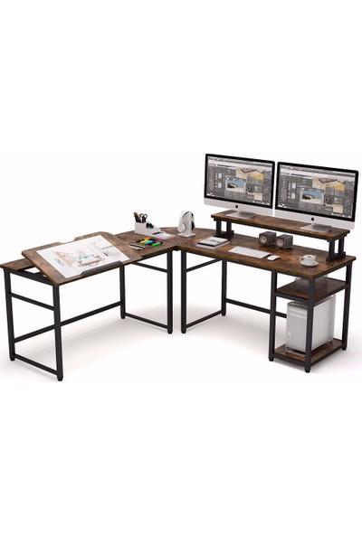 Yasmak Ceviz L Bilgisayar Masası, Monitör Yükseltici, Çalışma ve Çizim Masası 100C