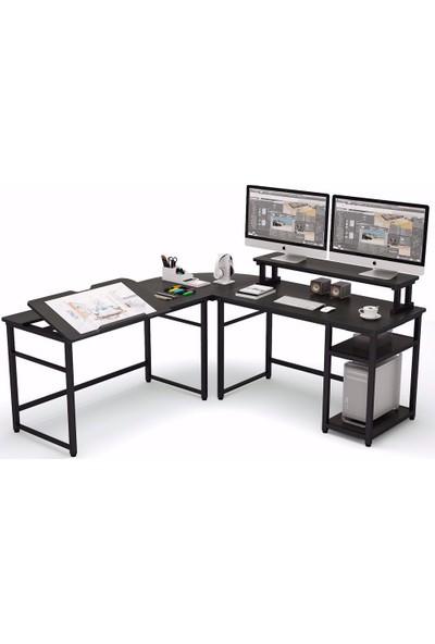 Yasmak Siyah L Bilgisayar Masası, Monitör Yükseltici, Çalışma ve Çizim Masası 100S