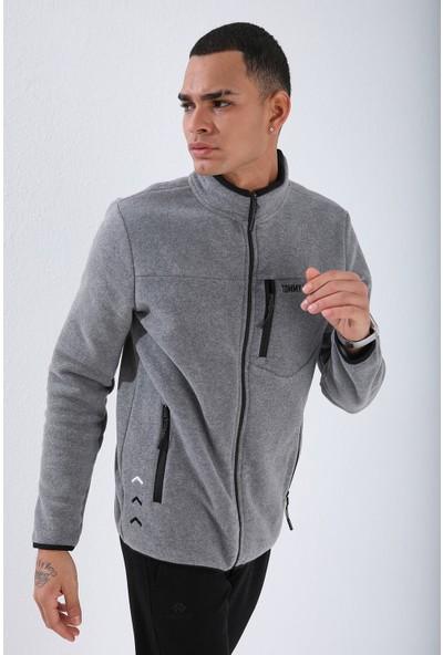 Tommy Life Gri Melanj Erkek Cepli Fermuarlı Sweatshirt Slim Fit Dik Yaka Polar-87890