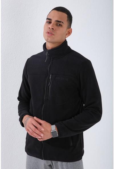 Tommy Life Siyah Erkek Cepli Fermuarlı Sweatshirt Slim Fit Dik Yaka Polar-87890