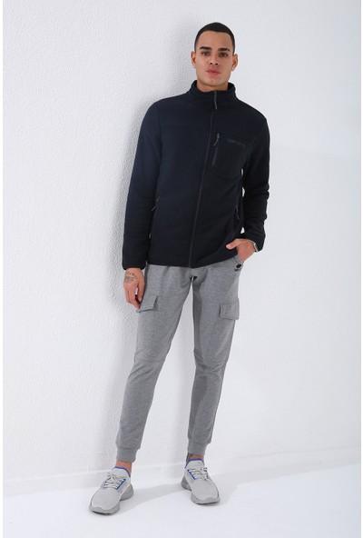 Tommy Life Lacivert Erkek Cepli Fermuarlı Sweatshirt Slim Fit Dik Yaka Polar-87890