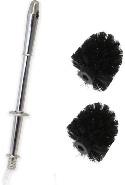 Rc Home Yedek Klozet Fırça Sapı ve 2 Adet Yedek Fırça Ucu ( Üniversal Tuvalet Fırçası)