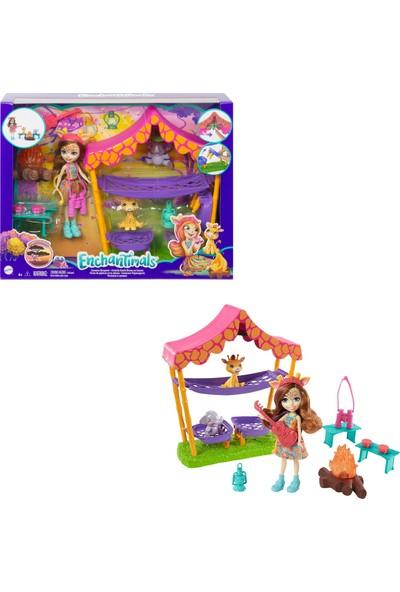 Enchantimals Kamp Eğlencesi Oyun Seti Zürafa Griselda Bebek (15 Cm) 2 Hayvan Arkadaş Figürü Çadır Ve 8 Aksesuarı İle Gtm33