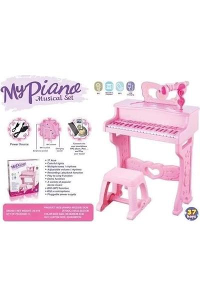 Oyuncak Gidiyor 37 Tuşlu Mikrofonlu Elektronik Tabureli Çocuk Piyano