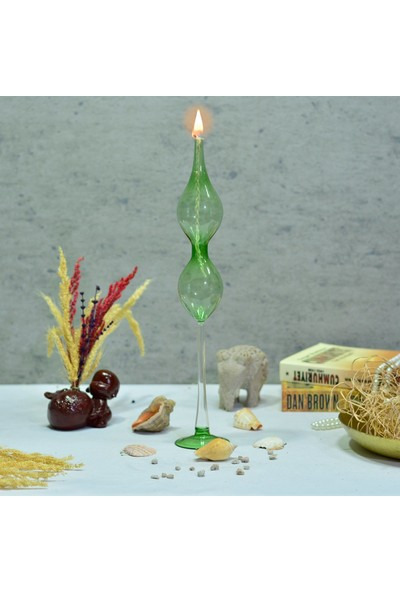 Flovart Modern Ayaklı Cam Kandil Eftalia Yeşil - Kandil Yağı Hediyeli