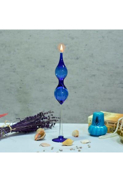 Flovart Eftalia Model Cam Kandil Mavi - Kandil Yağı Hediyeli