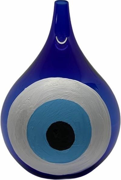 Flovart Damla Şık Dekoratif Cam Kandil - Mavi Beyaz - Kandil Yağı Hediyeli