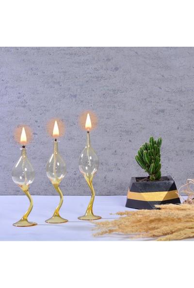 Flovart Kuğu Dekoratif Cam Kandil 3'lü Set Sarı - Kandil Yağı Hediyeli
