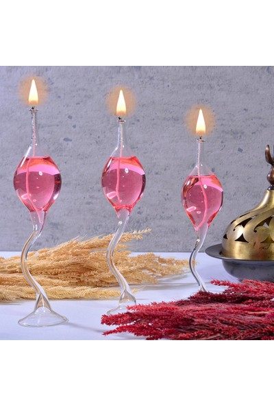 Flovart Üfleme Kuğu Cam Kandil 3'lü Set Şeffaf - Kandil Yağı Hediyeli