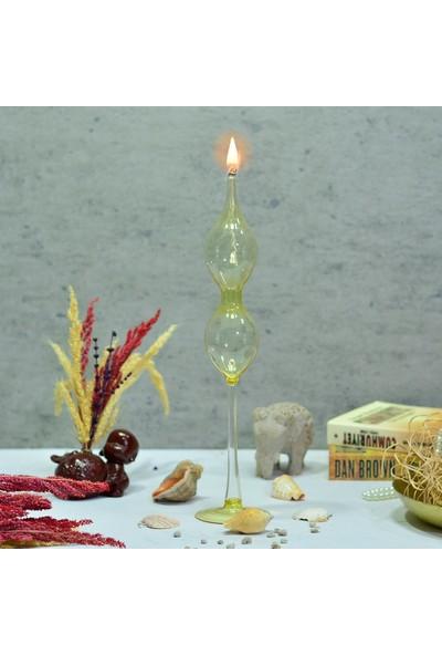 Flovart Dekoratif Cam Kandil Eftalia Model Sarı - Kandil Yağı Hediyeli