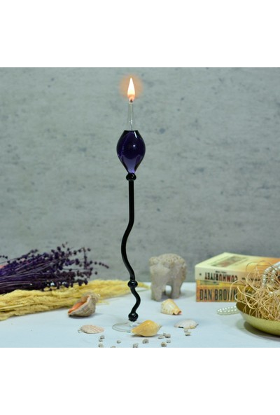 Flovart Ayaklı Cam Kandil Münhani Siyah - Kandil Yağı Hediyeli
