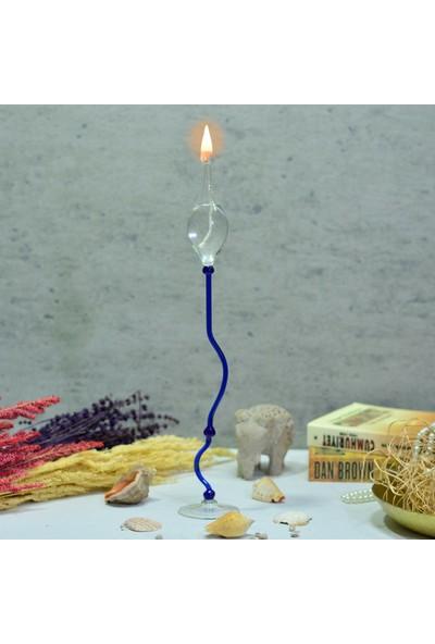 Flovart Dekoratif Cam Kandil Münhani Mavi - Kandil Yağı Hediyeli
