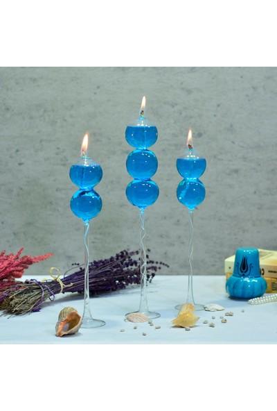 Flovart Gökçe Sade Sarmal Ayaklı Dekoratif Cam Kandil 3'lü Set - Şeffaf - Kandil Yağı Hediyeli