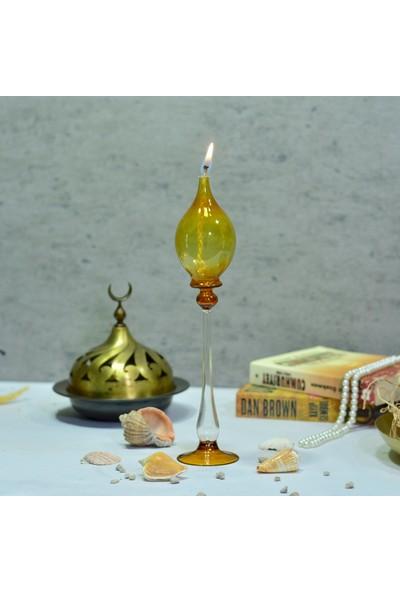 Flovart Şık Hüma Dekoratif Ayaklı Cam Kandil - Amber - Kandil Yağı Hediyeli